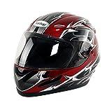 Yorbay Motorradhelm Integralhelm Sturzhelm Helm mit verschienden Typen & in unterschiedlichen Größen (Rot, M)