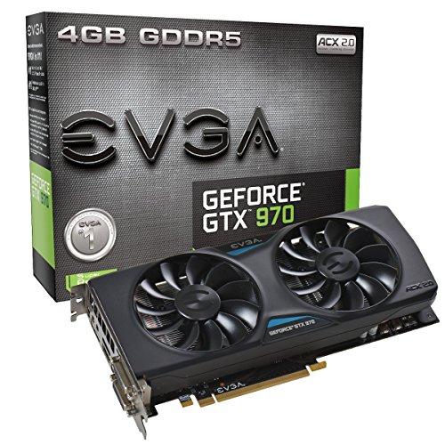 EVGA Geforce GTX 970 - Tarjeta gráfica (NVIDIA, GeForce GTX 970, 4096 x 2160 Pixeles, 4 GB, GDDR5-SDRAM, 256 bit)