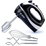 Vivo © 300W Black/Red Hand Food Mixer Whisk Dough Hooks 5 Speed Turbo Chef Cook Kitchen [Black]