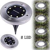 8 LED Solar Leistung Begraben Licht Boden Lampe Draussen Pfad Weg Garten Terassendielen Flood Downlight Daylight Floodlight Outdoor Spotlight Headlight Hirolan (Kaltes Weiß)