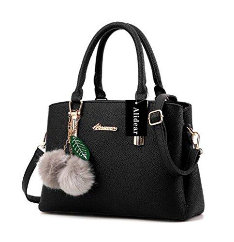 Alidear Neue Marke und Qualität 2018 Neue Damen Shopper Ledertaschen Handtaschen Umhängetasche Schultertasche Tote Bag Schwarz