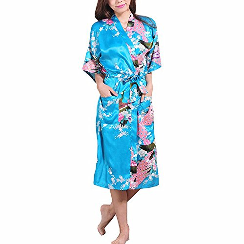 FY Damen Kimono Robe Lange Bademäntel Seidenrobe Imitation Pfau Blumen Seide Tuniken Nachtwäsche Saunamantel Negligee Braut Brautjungfer Spa Hochzeit Party Blau Größe 2XL (Spa Braut Robe)