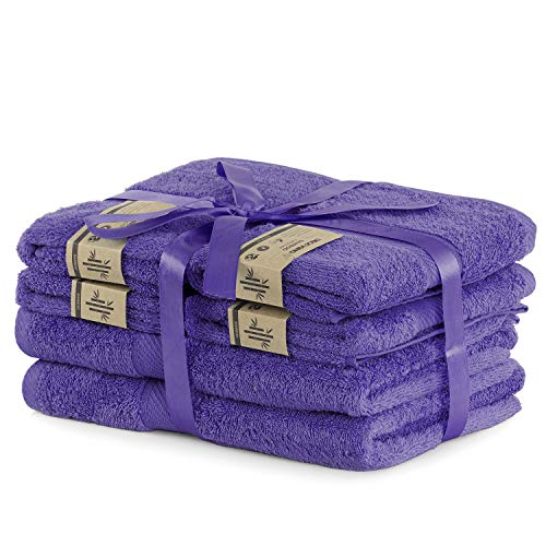 DecoKing 6er Set violett Baumwolle 4 Handtücher 50x100 cm und 2 Badetücher 70x140 cm Duschtücher Bambus Viskose saugfähig antibakteriell Bamboo Bamby Pflaume Violet Plum