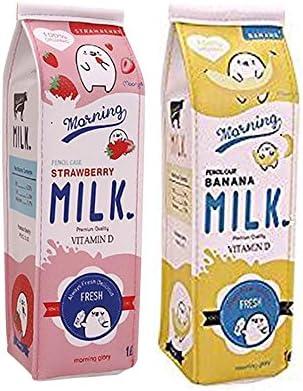 Fablcrew Trousse Creative Carton Carton Carton de lait PU Organiseur de sac avec fermeture à glissière Bureau Fournitures scolaires Lot de 2 | Prix Raisonnable  3d0a0a