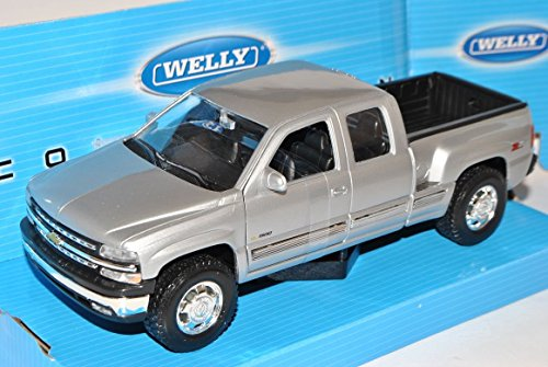 chevrolet-chevy-silverado-1999-pick-up-silber-1-24-welly-modell-auto