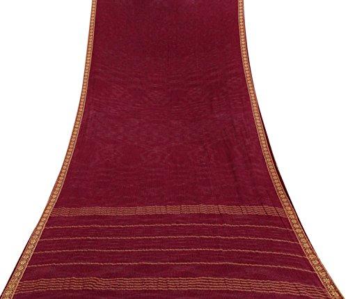 Vintage Saree Baumwolle Seide Maroon Woven indischen Craft Stoff gebrauchte Deco Sari 5 Yards -