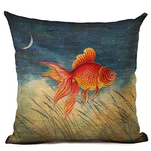 Coolsummer - Fodera per cuscino decorativo da divano, in lino, stile americano, stampa: pesce rosso, (Roll Top Home Office)