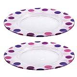 Bohemia Cristal 093 012 096 Play of Colors 2er-Set Teller Circa Durchmesser 320 mm mit Punkten aus Kalk-Natron-Glas, pink