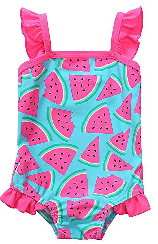 Anwell Baby Mädchen einteilig Badebekleidung Krausen Schwimmen Kostüme Wassermelone 3T,(Herstellergröße 6-12M)