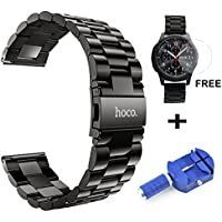 hoco. 22mm Armband für Samsung Gear S3 Frontier/Classic, Premium Edelstahl Metall Ersatz Uhrenarmband mit Tempered Glass Screen Protector + Pin Link Remover Tool(Dunkel grau)