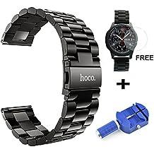 hoco. Bracelet montres, 22mm Premium Watch Strap avec protecteur d'écran en verre trempé et outil de suppression de broches de liaison Appliquer à Samsung Gear S3 Frontier / Classic&Huawei Watch 2 Etc.(Noir Acier, B1-Gris foncé)