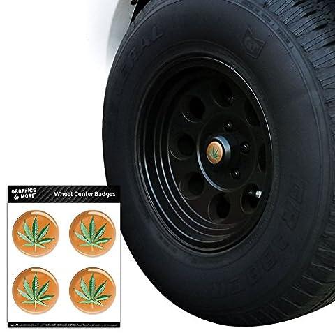 Feuille de pot de Marijuana Weed Bud de Vert Mary Jane sur Orange Centre de roue de pneu Bouchon Resin-topped badges Stickers