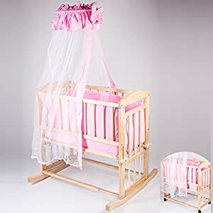 Berceau lit Bébé multifonctions en bois massif naturel + set de lit rose inclus