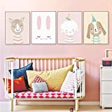 4er Set Kinderzimmer Babyzimmer Poster Bilder Din A4 | Mädchen Junge Deko | Dekoration Kinderzimmer | Waldtiere Safari Skandinavisch 4er-1