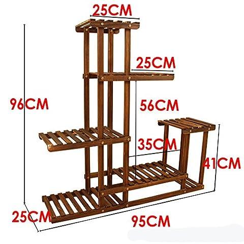 Solid Wood Balcony Support De Pot De Fleur Home Gauche Et Droite Asymétrique Shelves-B