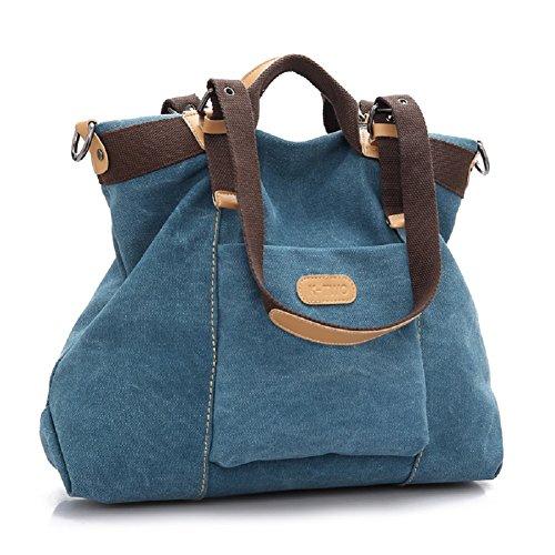 Borse Spalla Donna - Landove Borsette in Tela Borsa a Tracolla Grande Tote Bag Stoffa per Viaggio / Spiaggia / Scuola / Sportiva blu