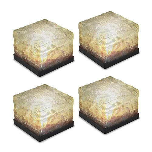 Glaslicht für den Gartenweg, Solar, Eislicht, Kristall-Klotz, Landschaft, Licht für den Hinterhof, Pfad, Terrasse, Pool, Teich, Außendekoration, 4 Stück (verbessertes Paket). warmweiß