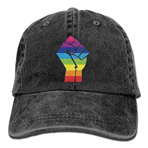 Confederate Flag T-shirt (Pride Rainbow Flag Fist Unisex Cowboy Cap Design for Man and Woman Black)