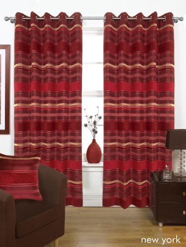 "New York Red Lined Ready Made Curtain Pair 90"" x 90"" Size With Eyelet Heading"
