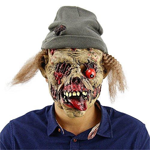 KZKR Halloween Maske Scary Maske Geschmolzene Gesicht Zombie Friedhof Wächter Maske Mit Hut und Haare Verfallende Horror böse Hawk Halloween bar Spukhaus Requisiten (Catwoman Kostüm Kind Uk)