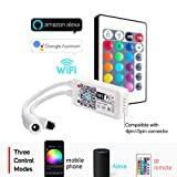 BTF-LIGHTING Wireless LED Smart Controller Working with Android and IOS System Mobile Phone Free App for RGBW/RGB LED Light Strips 5050 3528 LEDs Comes With One 24 Keys Remote Control