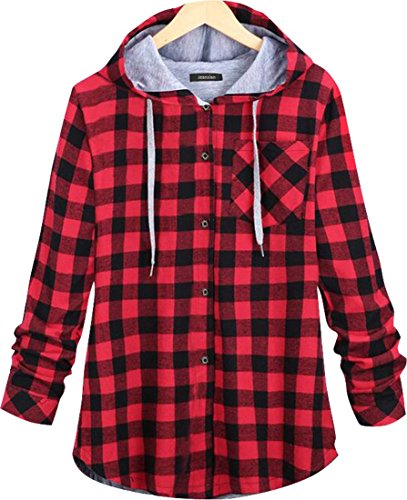jeansian Damen Fashion Thick Hoodie Check Jacket Outerwear Plaid Tops Button Down Sweatshirt Shirt WHS024 Red M [Apparel] (Coat Pullover Petite)