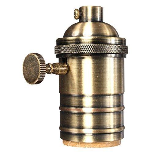 KINGSO E27 portalampada Rame Retro antico Edison luce ciondolo In ottone massiccio Luce Socket, Vintage industriale Lampade a sospensione a 3 vie Knob