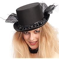 8e3cc0d5daef9 Carnival Toys - Sombrero de copa de raso y fieltro con decoraciones de tul