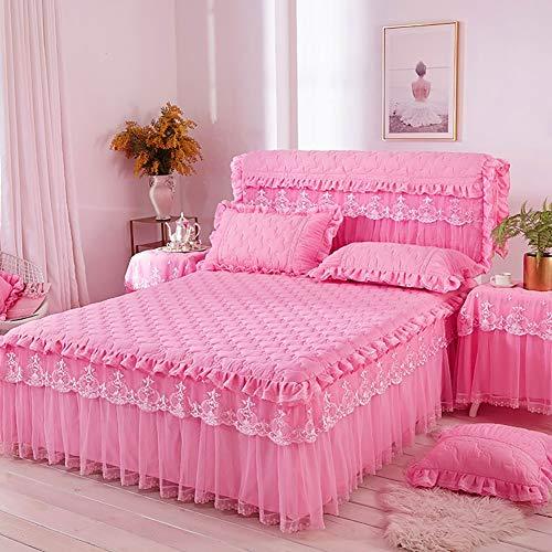 JIAOXM Bettwäsche Tagesdecke Rutschfeste Bettdecke Bettkleid mit plissierter Baumwollspitze - Ausgestattet mit 18-Zoll-Drop-Dust-Rüschen-Bettrock,A,150x200cm(59x79inch) - Tagesdecke Ausgestattet