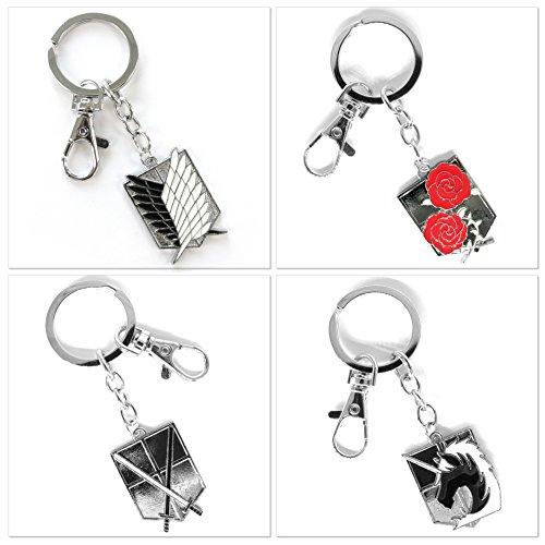 Preisvergleich Produktbild Papapanda 4 PC Set Schlüsselanhänger Schlüsselring für Attack on Titan Logo der Militär Divisionen Aufklärungstrupp Mauergarnison Militärpolizei Trainingseinheit