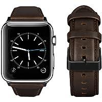Tervoka Cinturino Apple Watch 42mm, Cinturino in Pelle in Vera per Apple Watch Series 3, Series 2, Series 1, Caffè + Fibbia Nero, 42mm