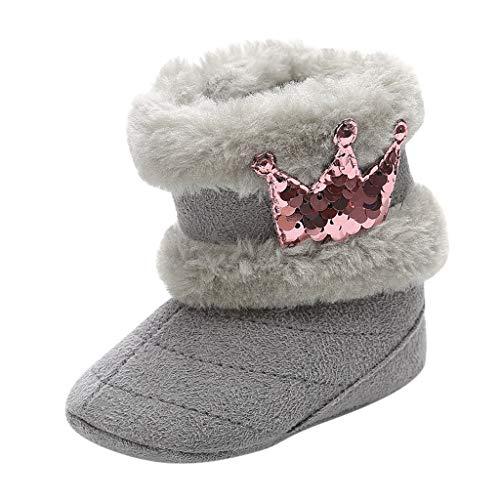 DWQuee ❤️ Babyschuhe Samtstiefel, Winterkleinkind Baby Mädchen Niedliche Krone Winter Warme Schneeschuhe Schuhe (0-18 Monate)
