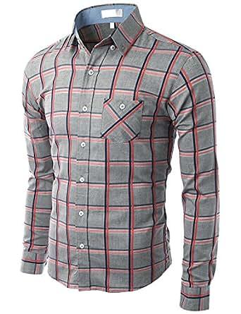 Doublju_uk Mens Casual Check Patterned Shirts