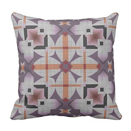 Orange Purple Native Tribal Mosaic Pattern 18*18 pillow Case