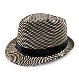MZ Sombrero de Tela Escocesa de Pata de Gallo de Hombres y Mujeres Tapa de Tela Escocesa Simple Tapa de Jazz Retro británica, 1