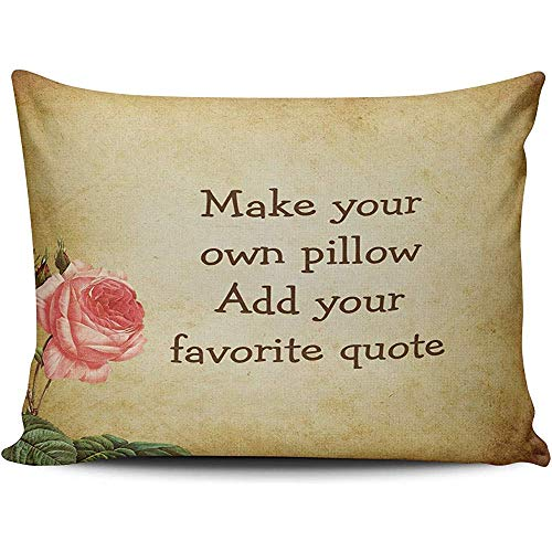 Cushion Covers Home Decoration Pillowcase Brown Pink and Green Make Your Own Add Favorite Quote Rose Custom Queen Size 18X18 Inch Hidden Zipper Chic Personality Rectangular One Sided Printed Design
