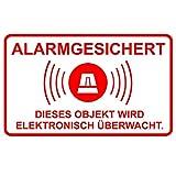 5er Aufkleber-Set Alarm-gesichert I hin_076 I Achtung Objekt wird elektronisch überwacht I für Fenster-Scheibe und Tür I außenklebend wetterfest