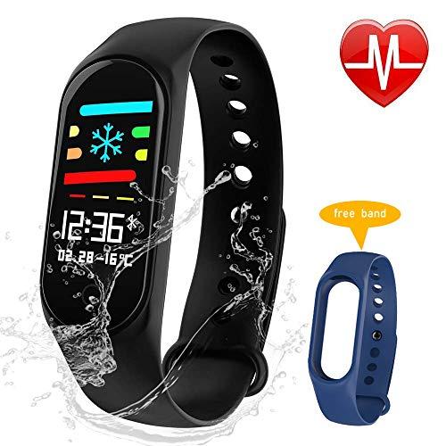 F-FISH Pulsera Actividad Inteligente Pantalla Color Reloj con Pulsómetro Impermeable IP67...