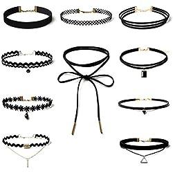 Sunnywill 10 Stück Choker Halskette Set Stretch samt klassische gotische Tattoo Spitze Choker für Frauen Mädchen Damen