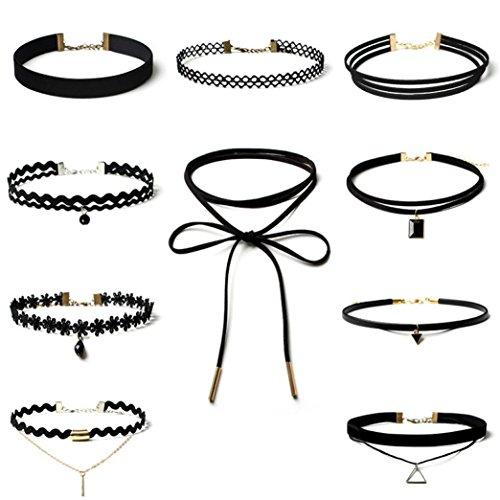 Sunnywill-10-Stck-Choker-Halskette-Set-Stretch-samt-klassische-gotische-Tattoo-Spitze-Choker-fr-Frauen-Mdchen-Damen