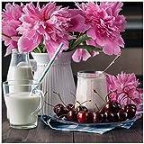 Wallario Acrylglasbild Milch mit Kirschen zum Frühstück mit rosa Blumenarrangement - 50 x 50 cm in Premium-Qualität: Brillante Farben, freischwebende Optik
