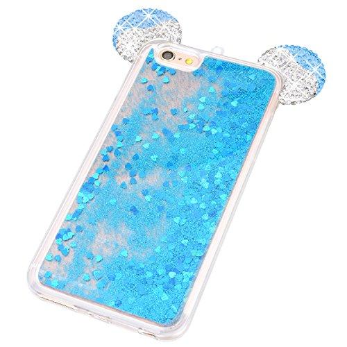WE LOVE CASE iPhone 6 Plus / 6s Plus Hülle Weich Silikon Kristall klar Maus Ohr Silber iPhone 6 Plus 6s Plus Schutzhülle Handyhülle Im Transparent Treibsand Quicksand Glitzern Funkeln Bling Sparkle Di Blau