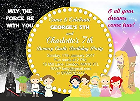 10 x Personalised Joint Birthday Party Invitations or Thank you Cards Star Wars Princesses