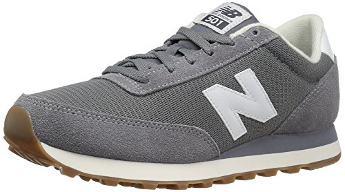 New Balance Mens 501 Running Classics Suede Trainers Gris Blanc