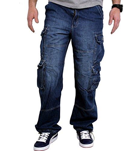 JET LAG Cargo-Hose Modell 007 Herren Jeans Pant - Denim Lite Navy inkl. F524 Camo Schlüsselband (3XL/32, Demin Light Blue)