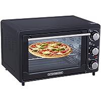 Mini Backofen 25 Liter | Pizzaofen | 3 in 1 Backofen | Minibackofen | Backofen mit Umluft | Freistehender Backofen | Temperaturregelung 100-250°C | zuschaltbare Umluft | 60 min.Timer | 1600 Watt | Farbe: Schwarz | …