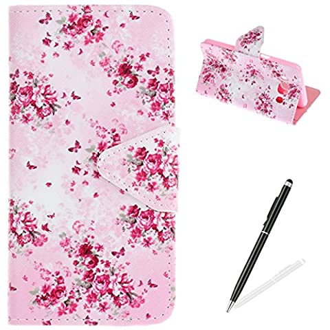 Samsung Galaxy J5 2016/J510 Case,Samsung Galaxy J5 2016/J510 Wallet Case,MAGQI Premium Flip PU Leather Money Pouch Case Colorful Painting Petals Pattern [Stand Function] [Magnetic Closure] Protective with Card Slots Bult-in Soft Inner Bumper Book Style Cover for Samsung Galaxy J5 2016/J510 - Butterfly