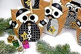 Papierdrachen DIY Adventskalender Set zum Befüllen - Weihnachtseulen Schwarz-weiß mit zusätzlicher Dekoration - Eulen Weihnachten - zum Basteln - zum selber Füllen - für Kinder - 4