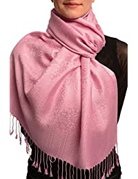 Taffy Pink Paisleys Pashmina Feel With Tassels - Rose ?charpe Taille Unique - 70cm x 180cm