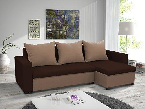 kleines Ecksofa Sofa Eckcouch Couch mit Schlaffunktion und zwei Bettkasten Ottomane L-Form Schlafsofa Bettsofa Polstergarnitur LARS (Braun + Cappuccino,...